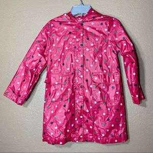 Gap girls pink polka dot rain coat
